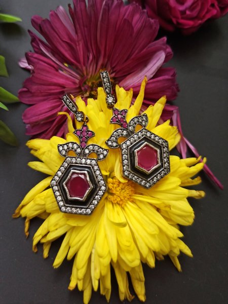 Classic Antique Look Ruby Earrings