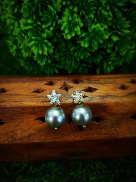 American Diamond and pearl earrings