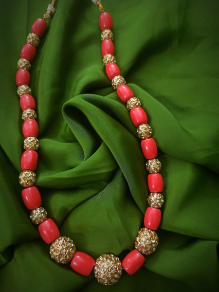 Jadau beads and coral Kantha