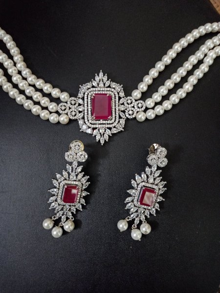 Classic Ruby Choker set with Pearls